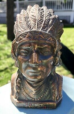 Figural Indian Chief Coin Bank Copper Finish Rock Candy Mt. Utah