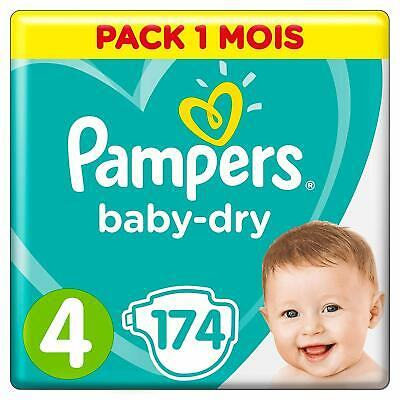 Pampers - Baby Dry - Couches Taille 4 (9-14 kg) Pack 1 mois (x174 couches) Bébé
