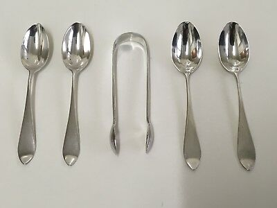 Super Irish Solid Silver Set of 4 Coffee Spoons & Sugar Tongs by W&W Dublin 1912