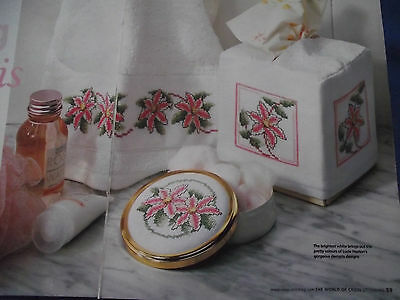 Beautiful Trailing Clematis Bathroom Set Towel/Mirror/Tissues Cross Stitch Chart