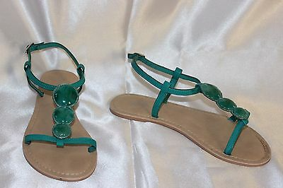 SOUTH green faux leather  ladies flat  summer sandals  shoes size 3