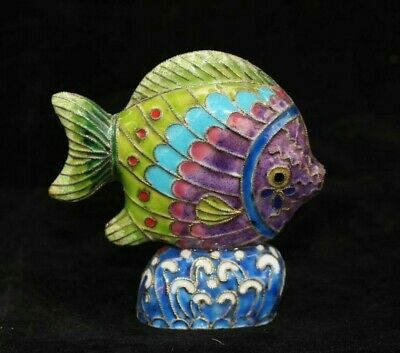 China Palace Cloisonne Brass Carve Lovely fish Decorated colorful fish Statue