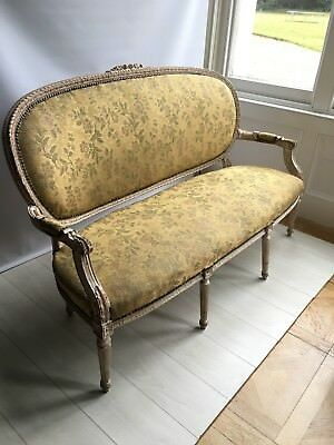 Antique French Louis XVI Style Carved Gilt Wood Salon Settee Sofa