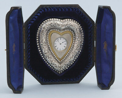 Silver Heart Shaped Desk Clock