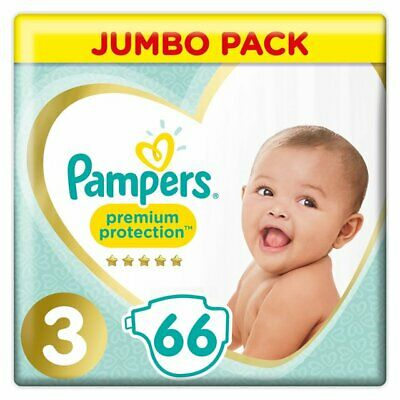 66 Pampers Size 3 Baby Premium Protection Nappies Jumbo Pack Nappy