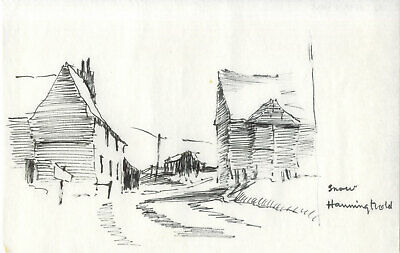 Sydney Vale FRSA - Mid 20th Century Pen and Ink Drawing, Snow, Hanningfield