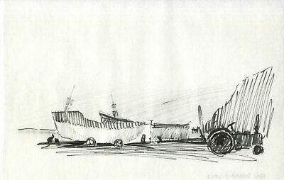 Sydney Vale FRSA - Mid 20th Century Pen and Ink Drawing, On the Farm