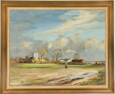 Ronald Snow - Very Large Gilt Framed 1990 Oil, Man Walking Dog in the Country
