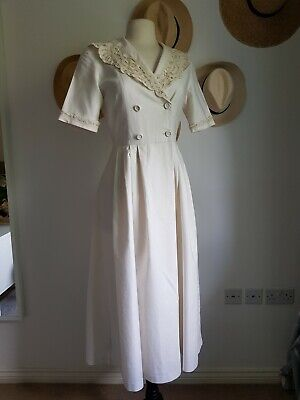 Vintage 10 Laura Ashley Linen Cotton Lace Midi Summer Tea Dress 40s 50s Natural