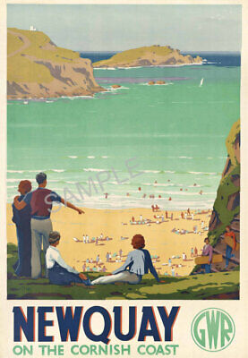 VINTAGE RAILWAY POSTER Newquay Cornwall Art Deco GWR Train Travel PRINT A3 A4