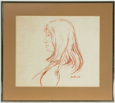 Peter Collins ARCA - Signed and Framed 1978 Pastel, Profile Portrait of a Woman