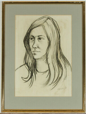 Peter Collins ARCA - Signed 1966 Charcoal Drawing, Portrait of a Woman