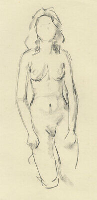 Peter Collins ARCA - c.1970s Charcoal Drawing, Nude, Kneeling