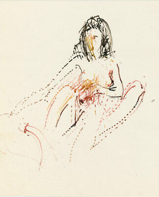 Peter Collins ARCA - c.1970s Watercolour, Seated Female Nude