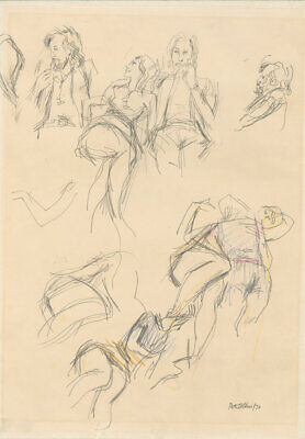 Peter Collins ARCA - Signed 1970 Graphite Drawing, Figure Studies