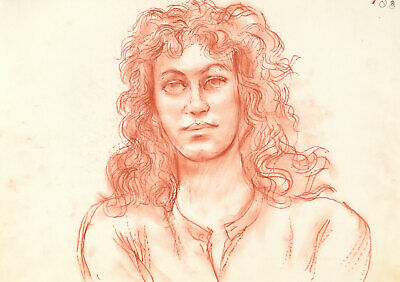 Peter Collins ARCA - c.1970s Pastel, Portrait of A Woman with Curly Hair