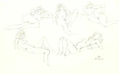 Peter Collins ARCA - Signed 1988 Graphite Drawing, Five Nude Studies