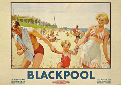 VINTAGE RAILWAY POSTER Blackpool Art Deco Family Beach Retro Travel PRINT A3 A4