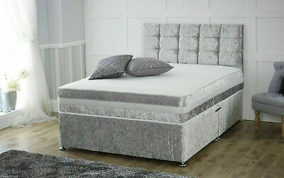 "New Crushed Velvet Divan Bed With Matching Mattress And Free 20"" 4Ft6 Double 5Ft"