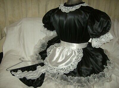 Sissy~Maids~ Adult Baby~Unisex ~ Cd/Tv Black Satin And White Lace Dress Outfit