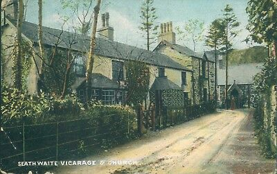 Seathwaite vicarage & church; 1905; Moss series