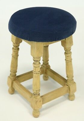 Sturdy Wooden Stool With Splayed Legs Blue Padded Seat FREE Nationwide Delivery