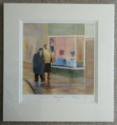 Des Brophy, Dream On (Mounted) - Signed Limited Edition People Shopping Print