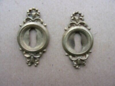 Antique Brass Key Hole Covers  Escutcheons- Matched Pair - Lot of 2