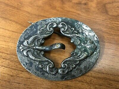 Antique, Very Old, Very Unusual Repousse Brooch Buckle Sash Pin