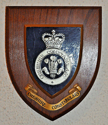 Vintage Cheshire Constabulary mess wall plaque shield crest Police