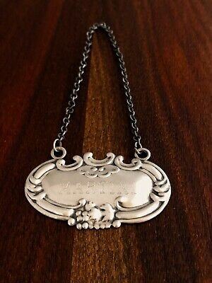 - American Sterling Silver Bottle Tag For Martini:.shell & Floral Pattern
