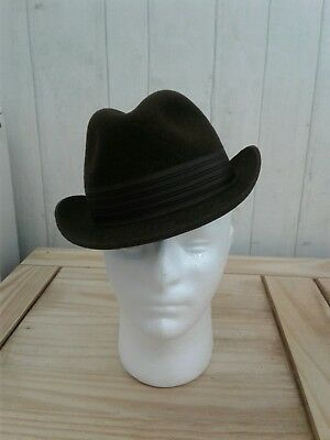 Vintage Macqueen of London Dolphin Trilby Hat Brown Size 6 7/8 1960's