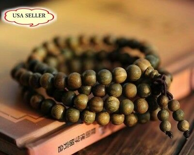 Fragrant Green Sandalwood 108 Buddhist Prayer Bead Mala Bracelet/Necklace-24""