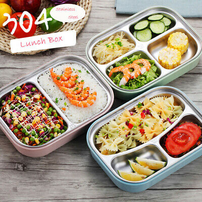 Grids Lunch Box Food Container Stainless Steel Meal Bento Box 2/3/4 Compartments