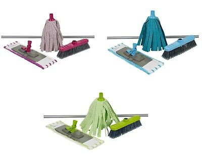 Indoor 4Pc Microfiber Cleaning Mop Brush Set Handle & Broom Set Dirt Sweeping