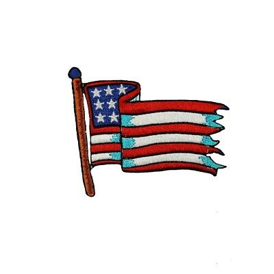Waving American Flag Patch USA America Patriotic Embroidered Iron On Applique