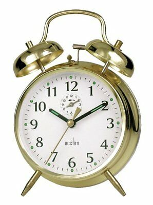 Large Bell Alarm Clock Luminous Hands & Background Golden Clock