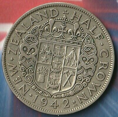 1942 King George New Zealand Half Crown~50% silver~ Only 240,000 Minted