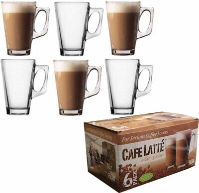 240ml 6 TALL CLEAR GLASS LATTE COFFEE TEA CAPPUCCINO HOT DRINKING CUP MUG CAFE