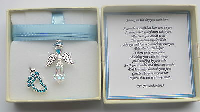 New Baby Boy Birth Gift Guardian Angel keepsake present Personalised MEMORY BOX