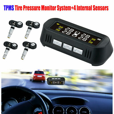 Solar Wireless LCD Car Tire Pressure Monitor System TPMS and 4 Internal Sensors
