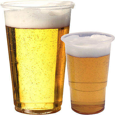 Clear Strong Plastic Half Pint 300ml Disposable Beer Glasses Cups Tumblers Drink
