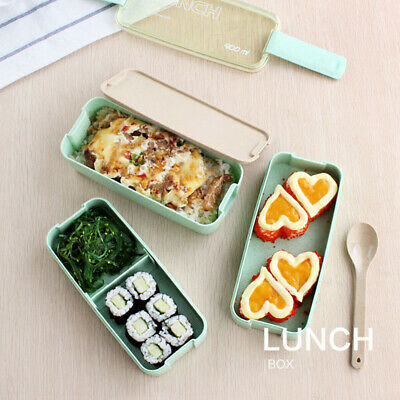 3 Layers Lunch Box Wheat Straw Eco Food Container Storage Case Bento Box W/Bag
