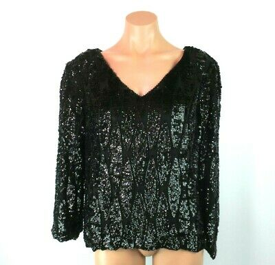 Vtg SWEE LO Silk Evening Heavy Sequin Beaded TROPHY Top Blouse Shirt L