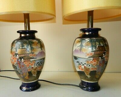 Pair of Antique Signed Hand Painted Japanese Vases turned into Lamps