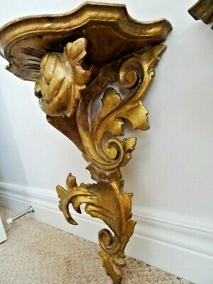 "HOLLYWOOD REGENCY SHELVES antique Italy 1910 ROCOCO rare size 15"" FLORENTINE x2"