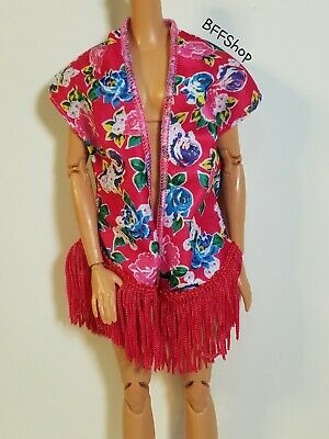 MATTEL FLORAL FRINGE KIMONO CARDIGAN DUSTER LONG WRAP SHAWL BOHO BARBIE FASHION