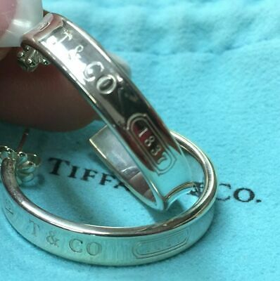 e0f014650 Authentic Tiffany & Co Sterling Silver 1837 Large Hoop Earrings 28mm - 10.6g