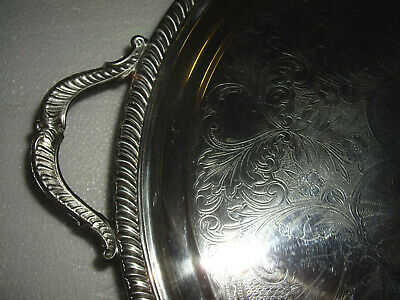 "Vintage Silver Plate Footed Serving Tray 18.5"" with Handles"
