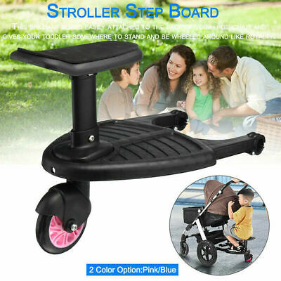 Kids Safety Comfort Rear Wheeled Pushchair Stroller Step Board Axis Load UP 25kg